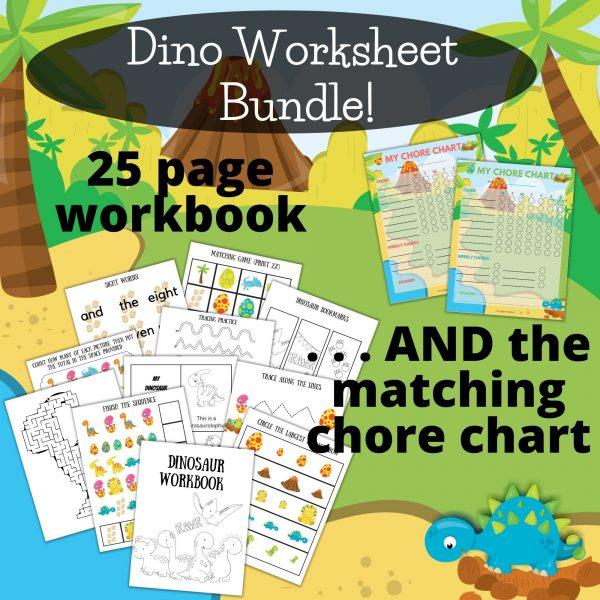 dinosaur preschool worksheets bundle