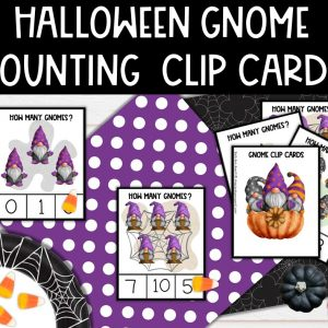 Gnome Halloween Counting Clip Cards for Preschoolers