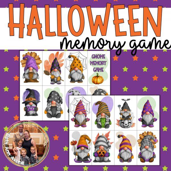 Halloween Gnome Memory Game for Preschoolers
